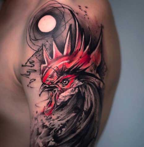 tatuaje abstracto de gallo