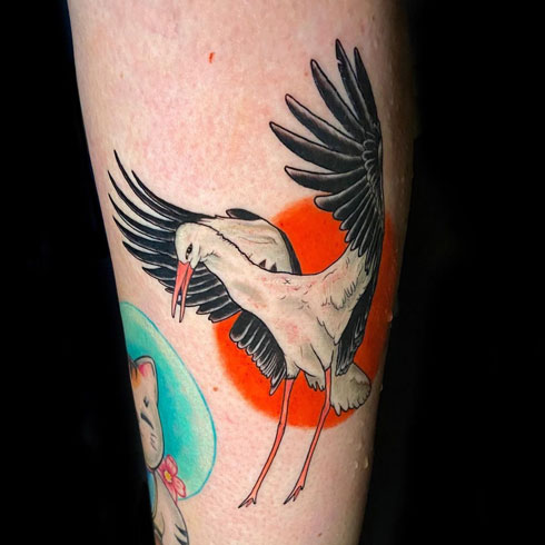 tatuaje cigueña