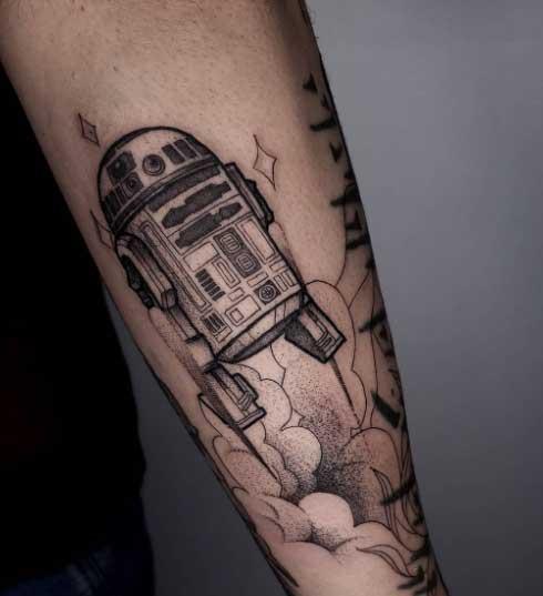 tatuaje en negro y gris star wars