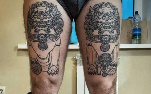 tatuaje fu dog dual