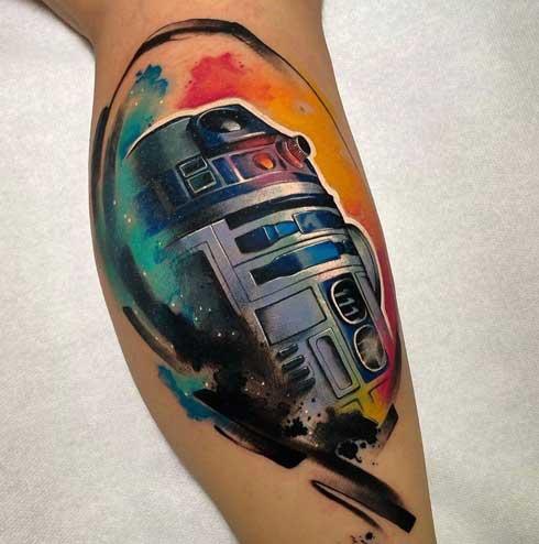 tatuaje full color r2 star wars