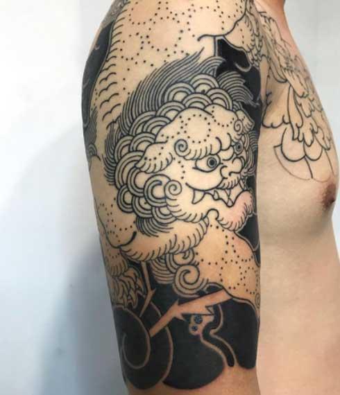 tatuaje japones de perro