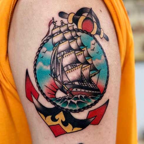 tatuaje old school barco
