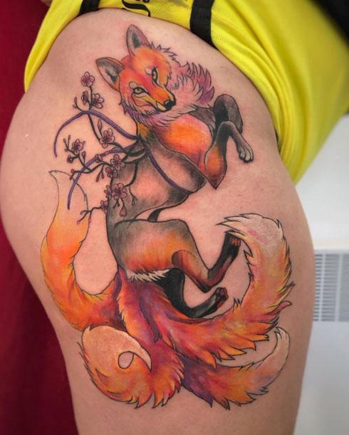 tatuaje zorro en la pierna