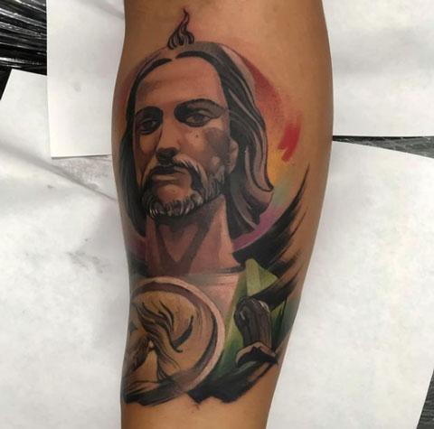 acuarela tatuaje san judas tadeo