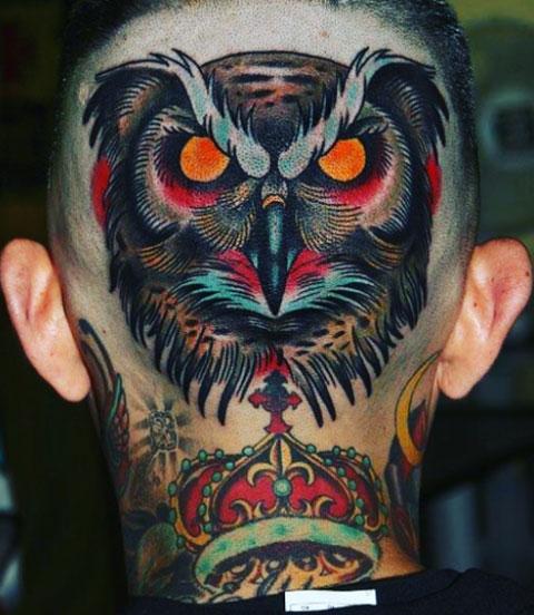 tattoo buho en cabeza
