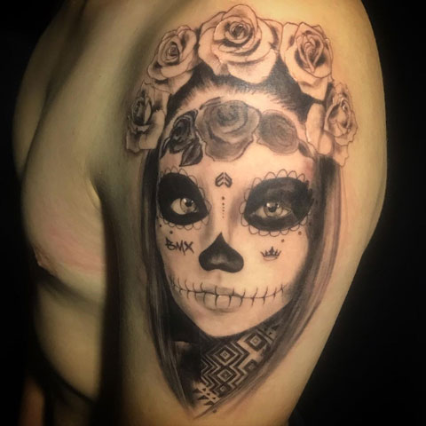tattoo de catrina y flores