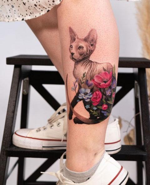 tattoo gato en pantorrilla