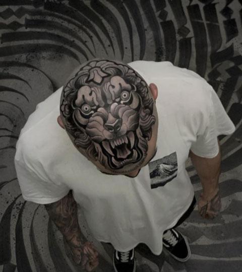 tattoo tigre en la cabeza