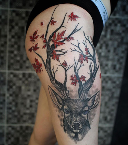 tattoo venado en pierna