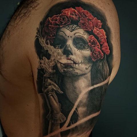 tatuaje catrina fumando