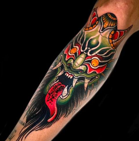 tatuaje de diablo en colores