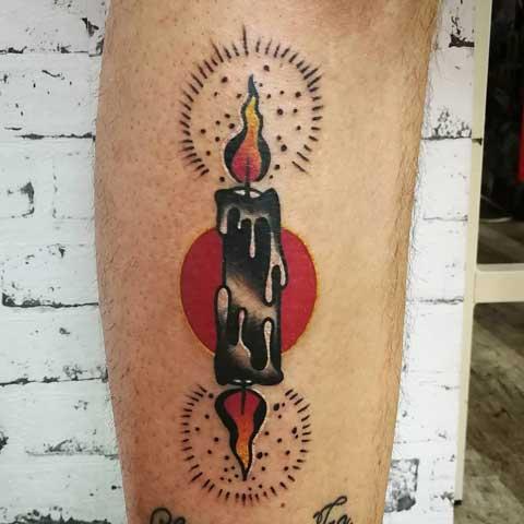 tatuaje de vela estilo tradicional