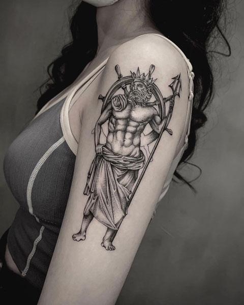 tatuaje dios del mar poseidon