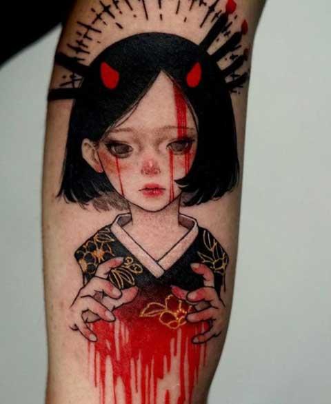 tatuaje geisha color