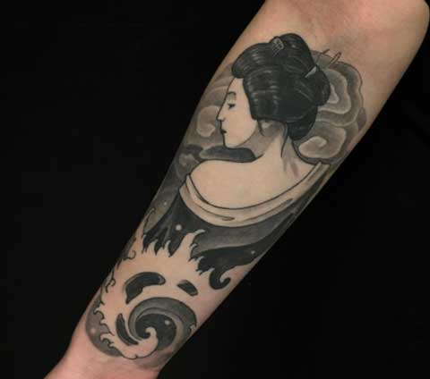 tatuaje tradicional geisha