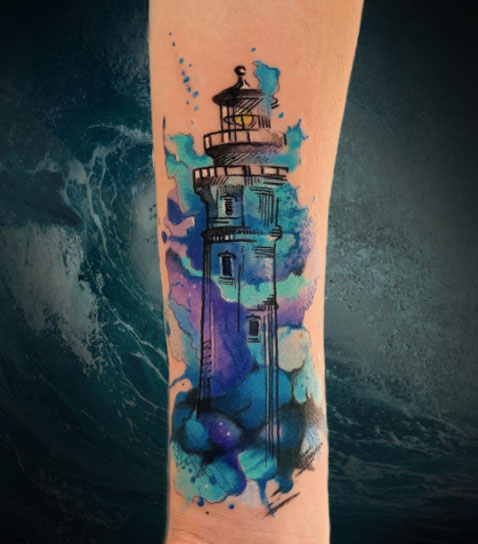 aquacolor tatuaje faro