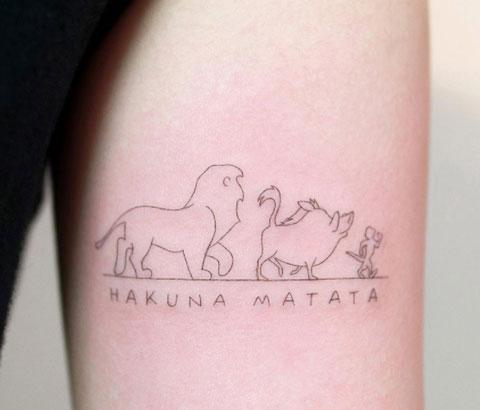 line fine tattoo hakuna matata