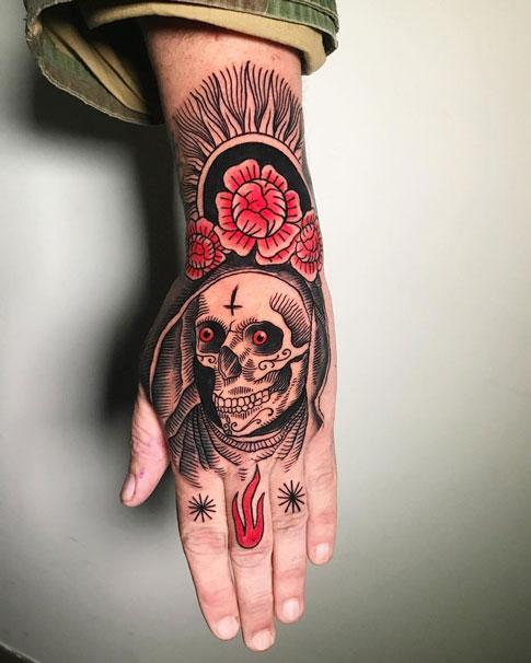 tattoo santa muerte en la mano