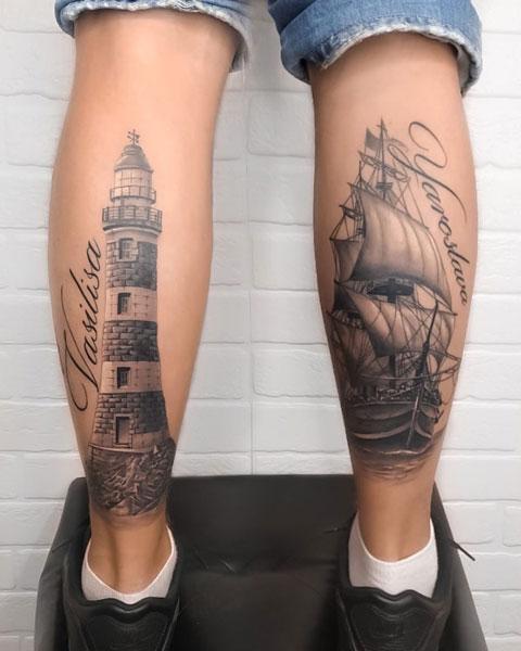 tatuaje barco y faro