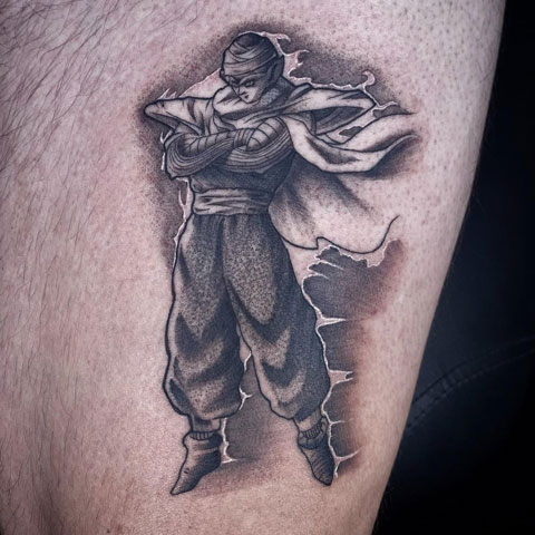 tatuaje de piccolo en gris