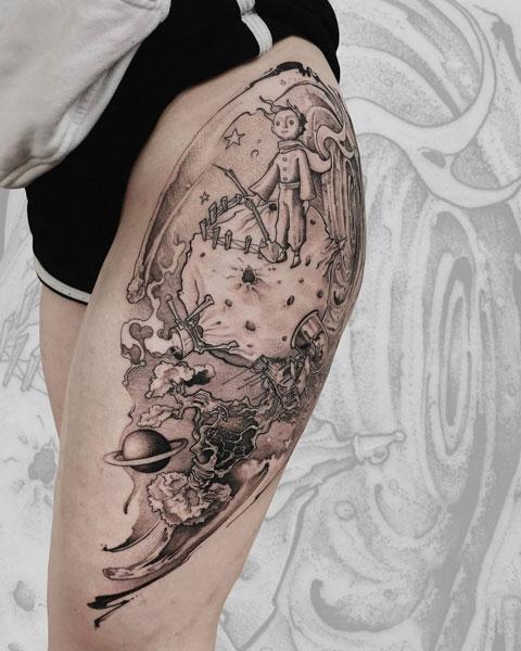 tatuaje del principito planeta