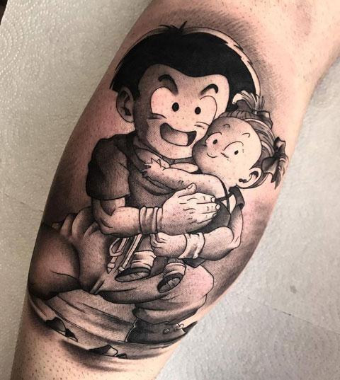tatuaje krillin y su hija