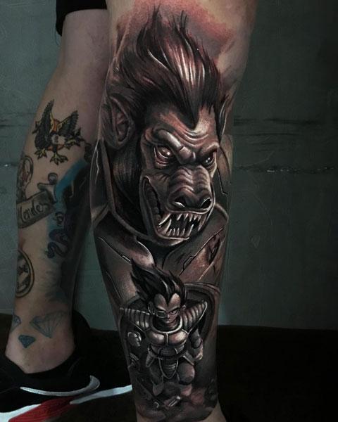 vegeta tatuaje en negro