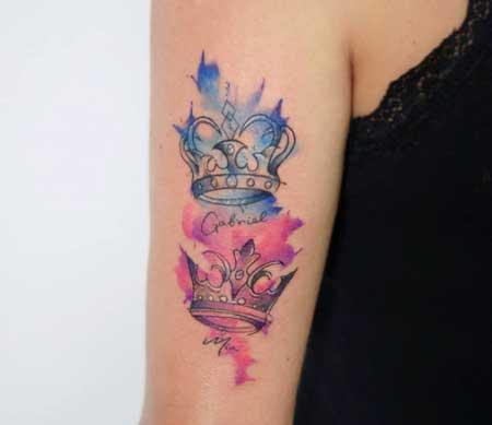 tatuaje acuarela corona